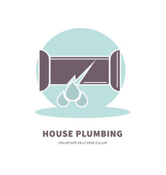 house plumbing service advertisement logo with vector image