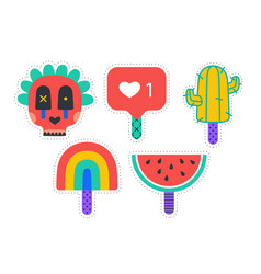 ice cream stickers colorful fun stickers for ice vector image