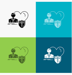 insurance family home protect heart icon over vector image