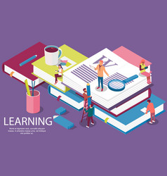 isometric concept with books for learning vector image