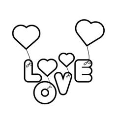 Lettering love hearts hanging outline vector