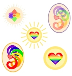 Lgbt flag colors symbols set vector