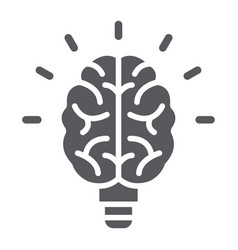 light bulb brain glyph icon school and education vector image