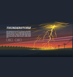 lightning strike and rain thunderstorm day in the vector image