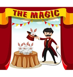 Magic show with magician and rabbits vector