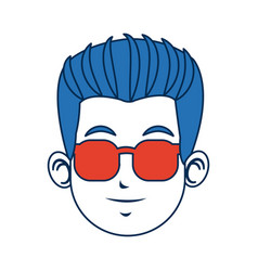 man character blue hair avatar image vector image
