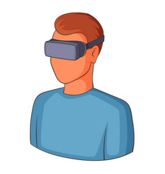 man with virtual reality goggles icon vector image vector image