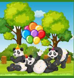 many pandas in party theme in nature forest vector image