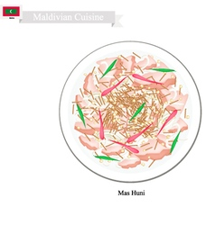 Mas Huni or Maldivian Spicy Shredded Coconut vector image