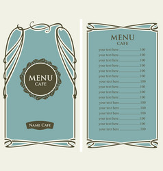 menu for cafe with price list and curlicues frame vector image