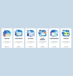 Mobile app onboarding screens digital marketing vector