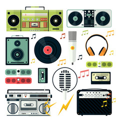 Modern and retro audio devices music playing vector