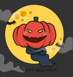 monster pumpkin head happy halloween full moon vector image