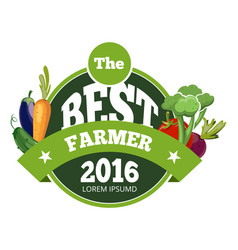 Natural fresh food vegetables logo badge vector