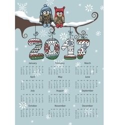 New Year Calendar 2017Owl coupleKnitting numbers vector image