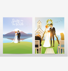 newlyweds card bride and groom wedding ceremony vector image