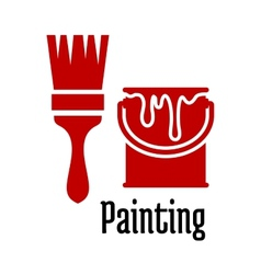 Painting icons with a brush and tin of paint vector