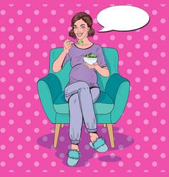 pop art happy pregnant woman eating salad at home vector image