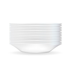 Realistic 3d model of a deep white dish vector