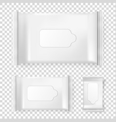 realistic pack of wet wipes icon set vector image