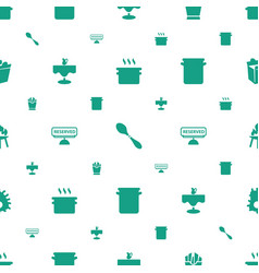 Restaurant icons pattern seamless white background vector