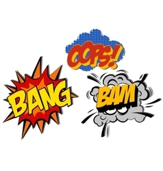 Retro cartoon explosion pop art comic set vector