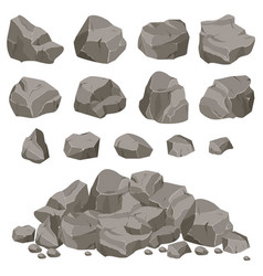 Rock stone set cartoon vector