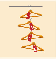 Sale clothes hanger red tag sale background vector