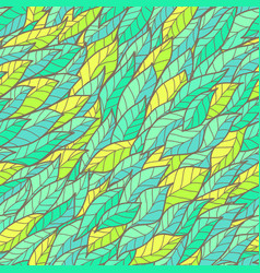 Seamless floral bright doodle pattern with leafs vector