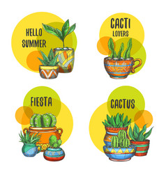set isolated labels cactus succulent plants vector image