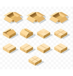 Set of 12 realistic isometric cardboard boxes with vector image