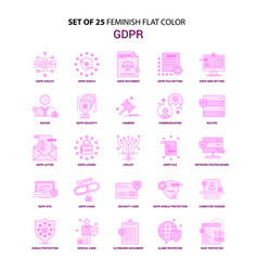 Set of 25 feminish gdpr flat color pink icon vector