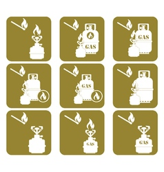 Set of tourist coocking equipment icons vector