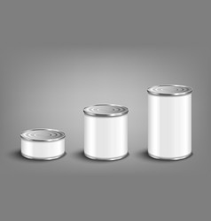 Set various sizes food tin cans realistic vector