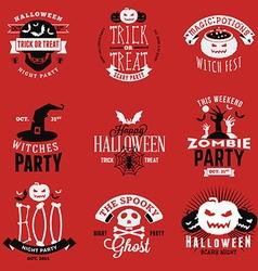 set vintage happy halloween badges stickers vector image