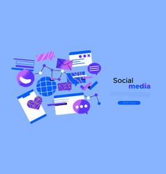 social media web template internet cartoon icon vector image