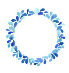 Splash water drop wreath watercolor for summer vector