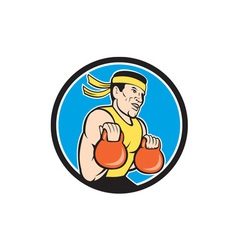 Strongman Lifting Kettlebell Circle Cartoon vector