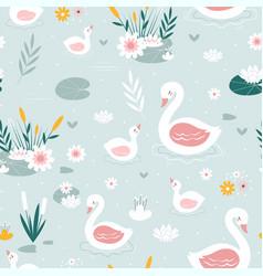 swan seamless pattern print design vector image