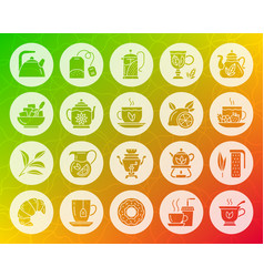 tea shape carved flat icons set vector image