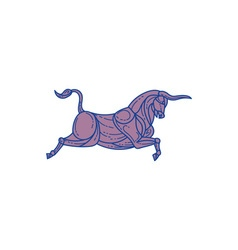 Texas longhorn bull charging mono line vector