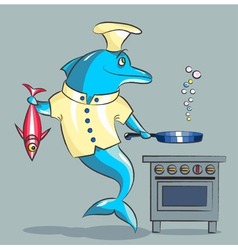 The dolphin is the cook vector image