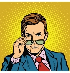 The man takes off his glasses vector image