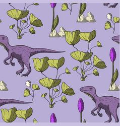 theropod dinosaur seamless pattern vector image
