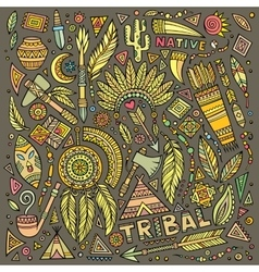 Tribal native set of symbols vector image