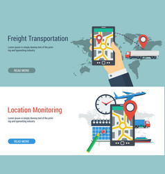 Two banners transportation and monitoring vector