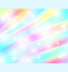 Unicorn rainbow background holographic sky in vector