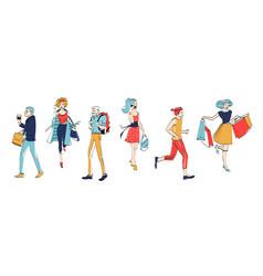 Various man woman character walk urban people vector
