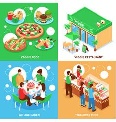 Vegetarian 2x2 design concept vector