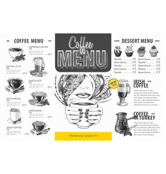 Vintage coffee menu design fast food menu vector